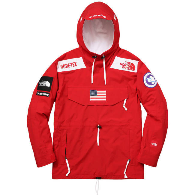Ufo361 Jacke rot The North Face Gore-Tex Supreme Windbreaker USA Flagge Ohne Mich
