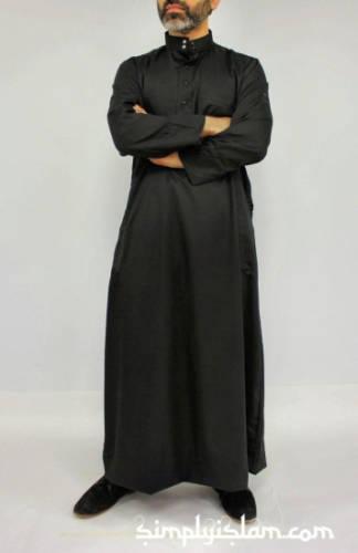 Eno Scheich Kleidung Thawb Juba schwarz