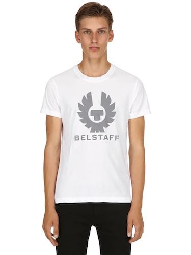 Belstaff T-Shirt weiß Logo grau
