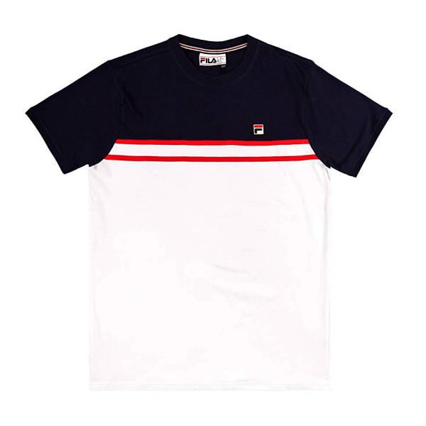Fila T-Shirt schwarz weiß mit roten Streifen
