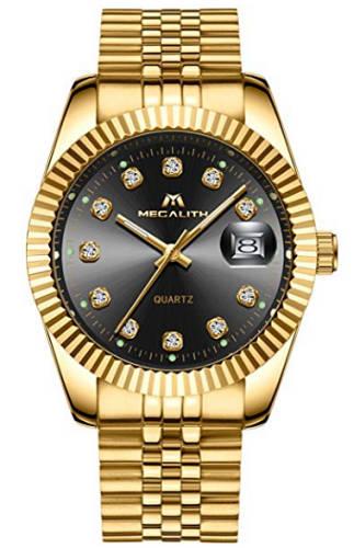 Gold Uhr mit schwarzem Ziffernblatt