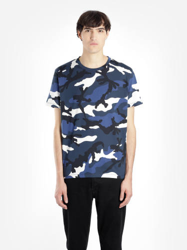 Luciano Valentino Camouflage T-Shirt blau