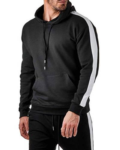Schwarzer Hoodie mit weißen Seitenstreifen