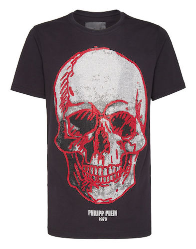 Zuna Philipp Plein T-Shirt Totenkopf rot