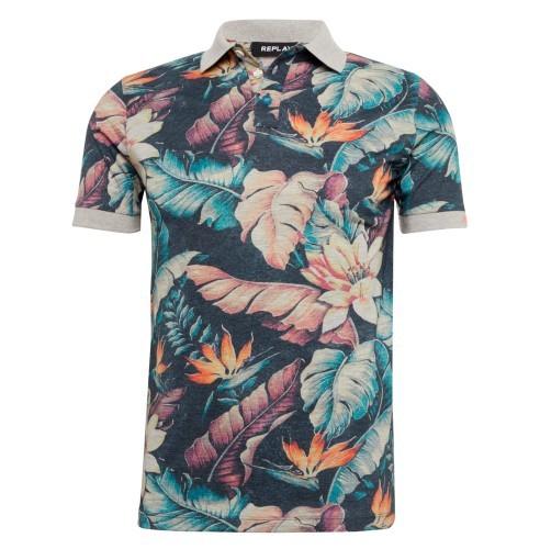 Replay Blumen Poloshirt