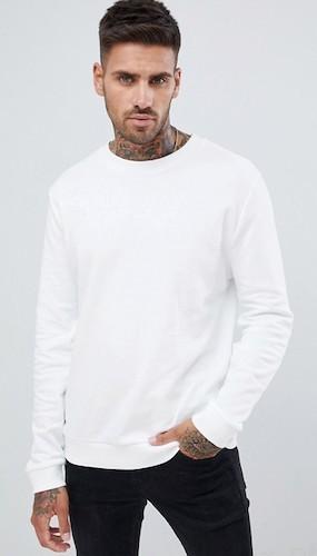 Sido weißer Sweater Rundhals