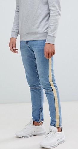 Ufo361 enge blaue Jeans mit Streifen