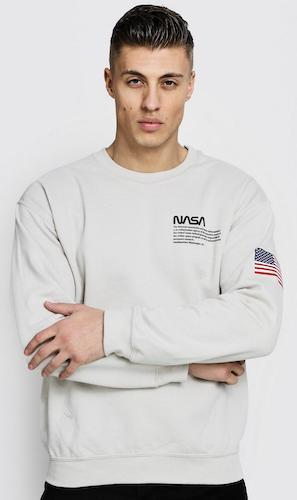 Nasa Licence Sweater weiß USA Logo