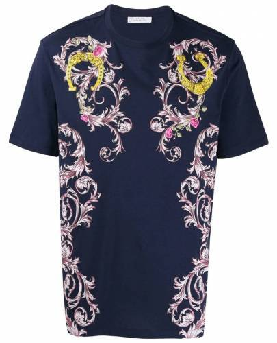 Versace T-Shirt blau Blumenmuster