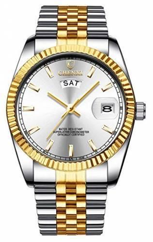 XLORDX Uhr Quarz gold