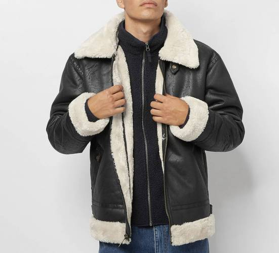 Alpha Industries Lederjacke Winter gefüttert
