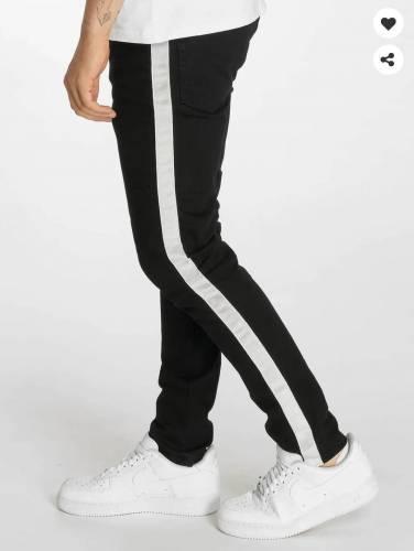 schwarze Jeans mit weißem Seiten Streifen