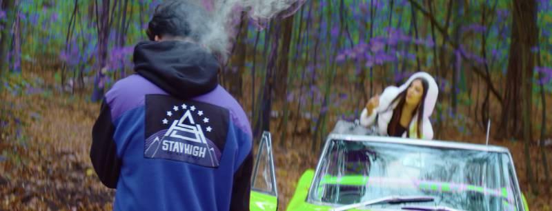Ufo361 Stay High Jacke lila schwarz