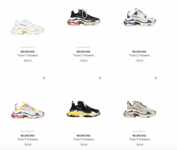 Balenciaga Sneaker Uebersicht