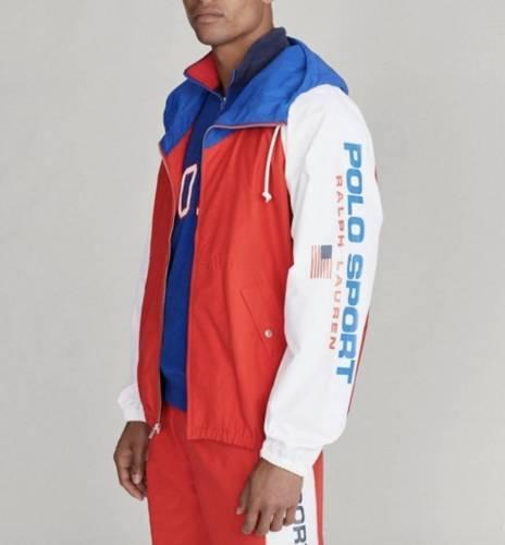 Polo Sport Jacke Colorblock rot blau weiß