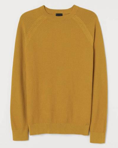 Pullover gerippt Senfgelb