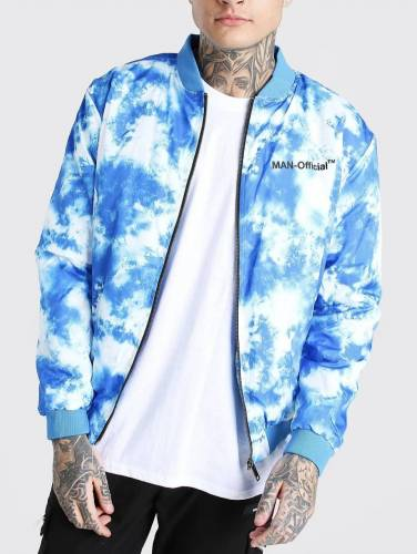 Bomberjacke Batik weiß blau