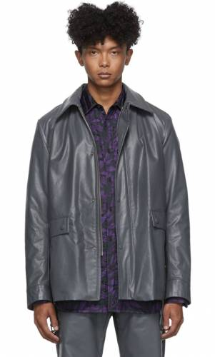 Dries van Noten grey faux Lederjacker