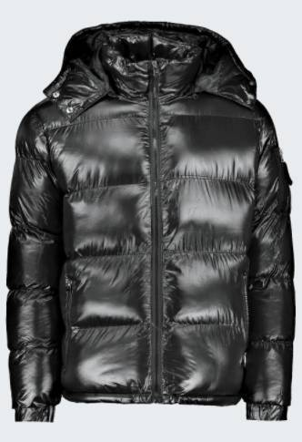 Puffer Jacke in Hochglanzoptik mit Kapuze Schwarz Alternatives